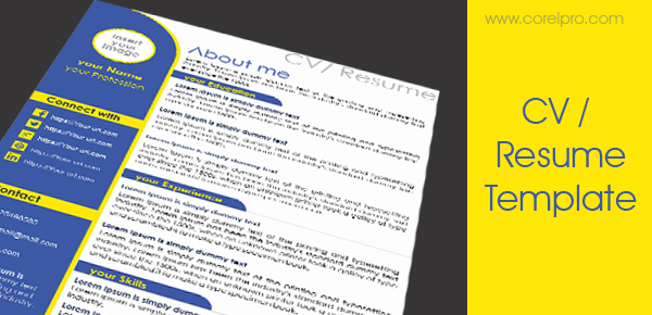 Resume Template Aslam Free Resources No Comments Cv Design In Coreldraw